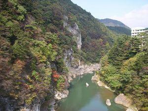 鬼怒川の紅葉情報(p_-)
